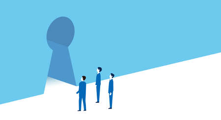 business people and keyhole  image,vector illustration,blue background