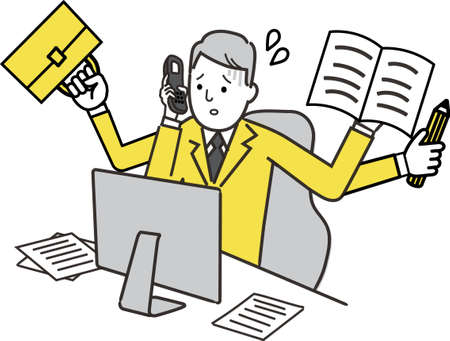 very busy office worker, hand holding bag, phone, paper,pencil,  illustration