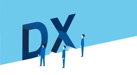 digital transformation image,businssman standing,vector illustration,blue background Vektorgrafik
