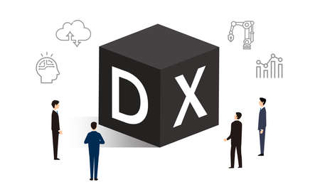 DX and icons, business person illustrations, vector illustrations