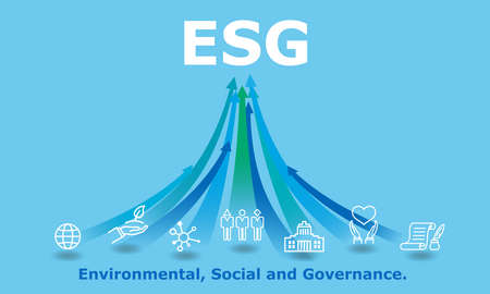 ESG,digital Environmental, Social, and Governance image,icon and rising arrow,blue background