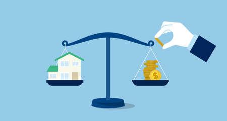 Balance of money and house image,blue background,vector illustration