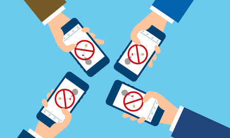 People using quit smoking apps,blue background,vector illustration