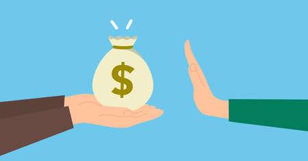 Refuse benefits image,hand holding money,vector illustration