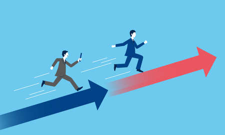 Business succession image,businessperson pass the baton,with arrow,blue background Vetores