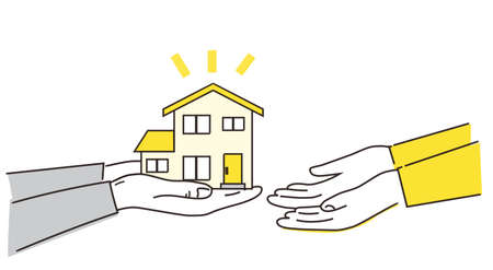 Hand over the house image,vector ,yellow and gray illustration Иллюстрация