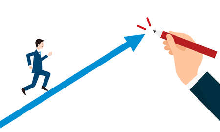 Growth image,boss and subordinate,hand drawing arrow,vector illustration
