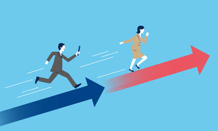 Passing baton from man to woman,with arrow,blue background,business image,vector illustration