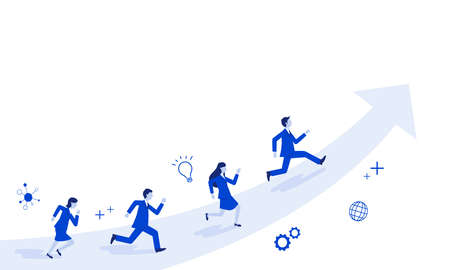 Businessperson running on rising  arrow,white isolated,vector illustration