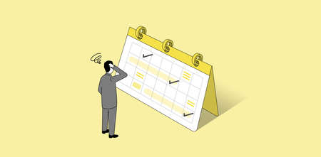 Troubled man standing in front of schedule,isometric,vector illustration,yellow background