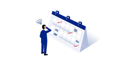 Troubled man standing in front of schedule,white isolated,vector illustration