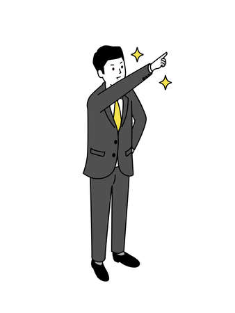 Businessman pointing to the front,white isolated,vector illustration