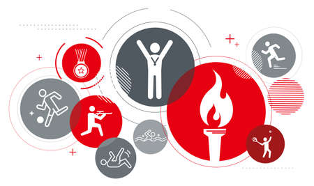 Total athlete image icon,red and gray,white isolated,vector