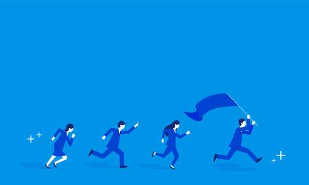 Team work image,businessperson running with flag,blue background,vector illustration