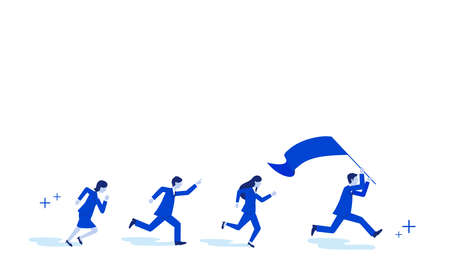 Team work image,businessperson running with flag,white isolated,vector illustration Иллюстрация