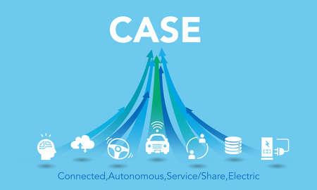 CASE icon image,Automotive industry,arrows,blue background,vector Иллюстрация
