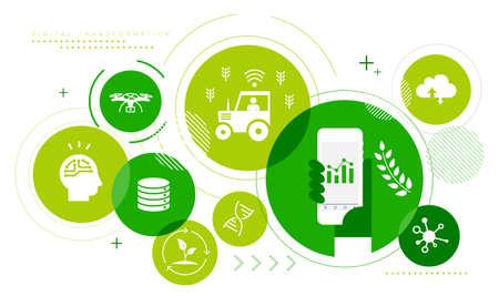 Agriculture,digital transformation  image icon set,startup,vector illustration Иллюстрация