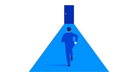 Businessperson running to door,challenging image,white isolated,vector illustration Иллюстрация