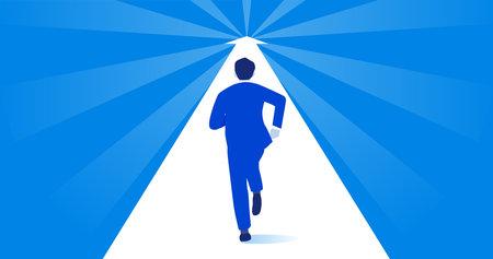 Businessman running forward on arrow,blue background,vector illustration Иллюстрация
