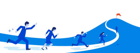 Businessperson running to mountain peak,copy space,vector illustration