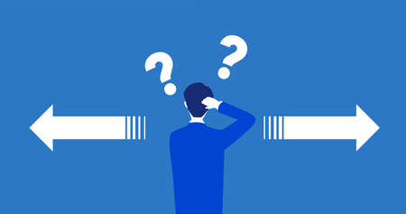 Getting lost way,businessman confused,question mark,blue background