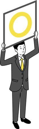 Man holding OK board ,white isolated,vector illustration Иллюстрация