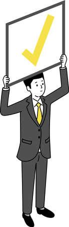 Man holding check board ,white isolated,vector illustration Иллюстрация