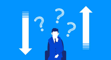 Up and down arrows,confused man with question mark,blue background,vector illustration