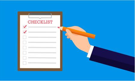Quality management image,hand holding pencil,checklist,vector illustration
