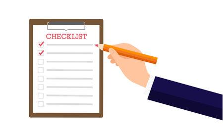 Check list image,businessman holding pencil,white islated,vector illustration Иллюстрация