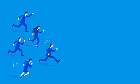 Businessperson running,blue background,copy space,vector illustration