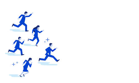 Businessperson running,white isolated,copy space,vector illustration