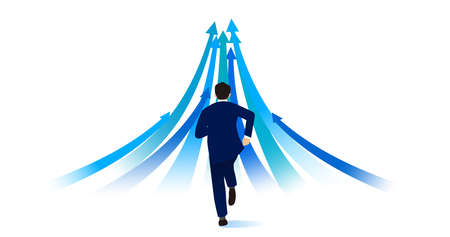 Man running forward,with many arrows,white isolated,vector illustration