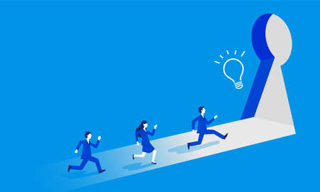 Breakthrough,businessperson running to exit in the shape of key,blue background,copy space,vector illustration