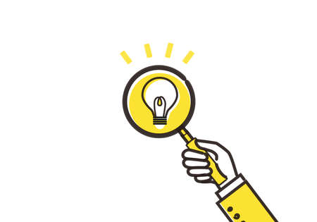 Serendipity,discovering idea image,hand holding magnifying glass,illustration Иллюстрация