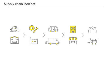 Supply chain icon flow set,yellow and black color,vector illustration