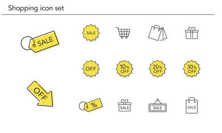 Various shopping icon set,yellow and black color,vector illustration
