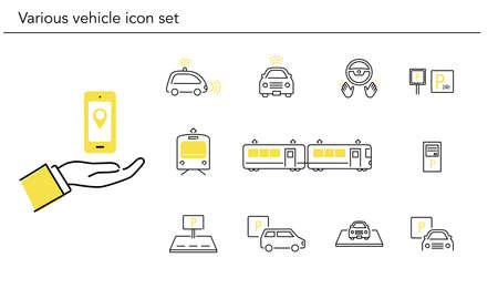 Various vehicle icon set,yellow and black color,vector illustration Иллюстрация
