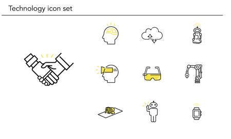 Various technology icon set,yellow and black color,vector illustration