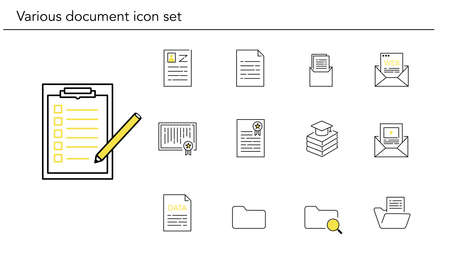 Various document icon set,yellow and black color,vector illustration