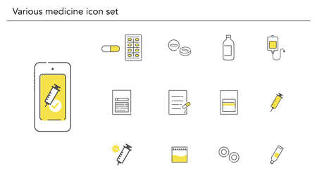 Various medicine icon set,yellow and black color,vector illustration