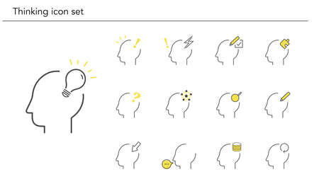 Various thinking icon set,yellow and black color,vector illustration