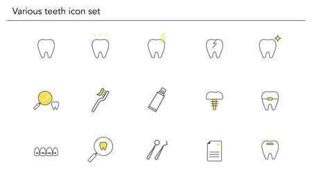 Various teeth icon set,yellow and black color,vector illustration Иллюстрация