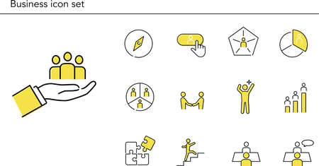 Simple business icon set,yellow and gray color,vector illustration