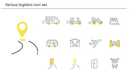 Various logistics icon set,yellow and black color,vector illustration
