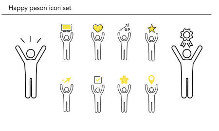Happy person icon set,yellow and black color,vector illustration