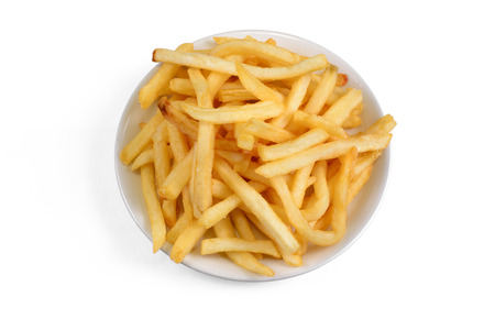 frites: Bowl of french fries on a white background