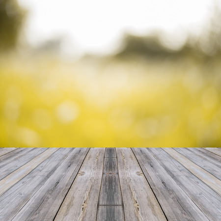 wallpapaer: Perspective wood over blur trees with bokeh background, spring and summer season Stock Photo