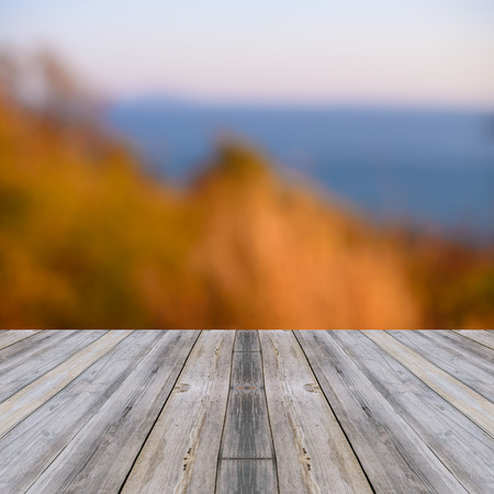 wallpapaer: Perspective wood over blur trees with bokeh background, Blurred seascape.