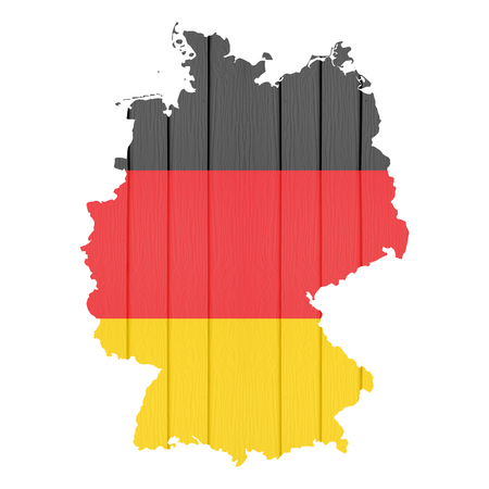 Map germany with flag on white isolated , wood texture. photo